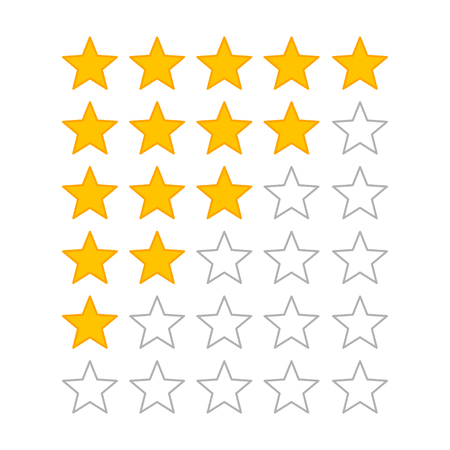 critique: Product rating or customer review feedback with gold stars flat vector icons for apps and websites