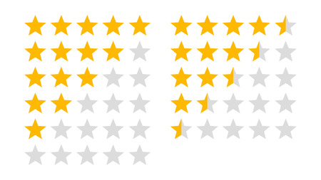 Product rating or customer review with gold stars and half star flat vector icons for apps and websites