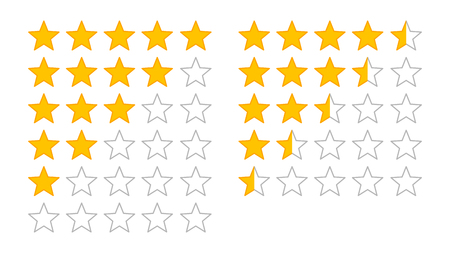 critique: Product rating or customer review with gold stars and half star line vector icons for apps and websites