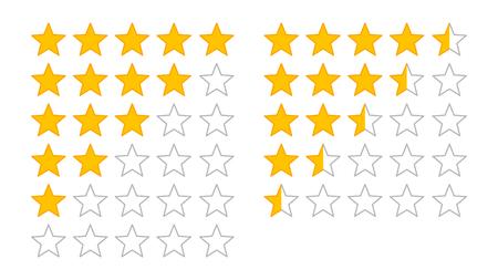 Valuation du produit ou évaluation des clients avec des étoiles d'or et des icônes de vecteurs de ligne demi-étoiles pour les applications et les sites Web Banque d'images - 81626528