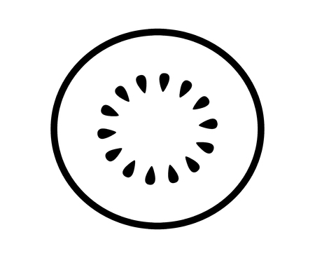 Kiwi fruit, kiwifruit or Chinese gooseberry half cross section line art vector icon for food apps and websites