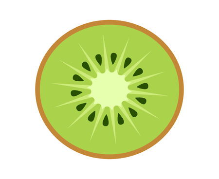 Kiwi fruit, kiwifruit or Chinese gooseberry half cross section flat color vector icon for food apps and websites