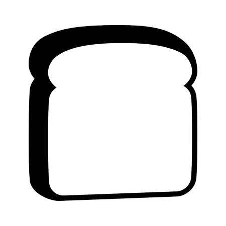 A slice of sliced white bread flat vector icon for food apps and websites