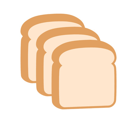 Three slices of sliced bread flat vector color icon for food apps and websites