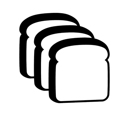 Three slices of sliced bread flat vector icon for food apps and websites Ilustrace