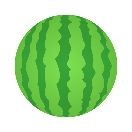 Whole watermelon fruit flat color vector icon for food apps and websites