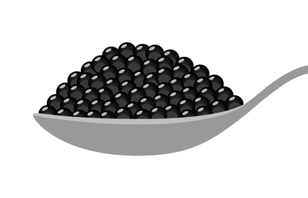 Black beluga sturgeon roe caviar on a spoon flat vector illustration for food apps and websites.
