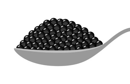 Black beluga sturgeon roe caviar on a spoon flat vector illustration for food apps and websites. Illustration