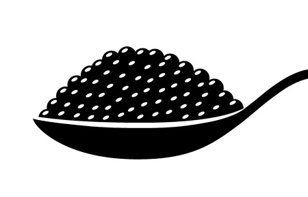 Black beluga sturgeon roe caviar on a spoon flat vector icon for food apps and websites