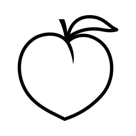 peachy: Peach fruit or nectarine with leaf line art vector icon for food apps and websites