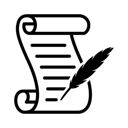 Schreiben auf einer Schriftrolle mit einem Federkielstift-Linienkunstvektorsymbol für Spiele und Websites