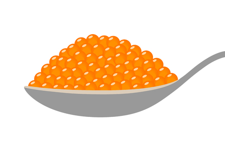 Orange salmon roe fish eggs on a spoon flat vector illustration for food apps and websites Ilustrace