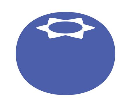 単一のブルーベリー果実フラット食品アプリとウェブサイトの青いベクトル アイコン