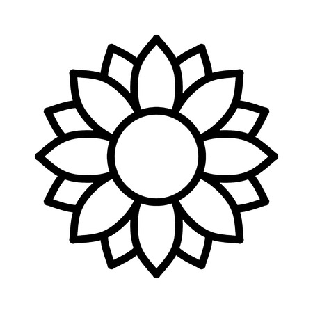 Helianthus or sunflower blossom line art vector icon for flower apps and websites