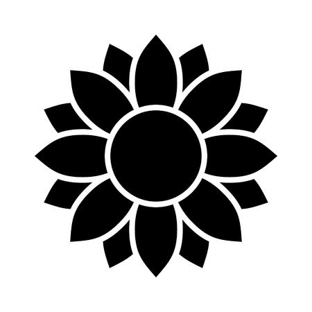 花アプリとウェブサイトのヒマワリやヒマワリの花フラット ベクトルのアイコン