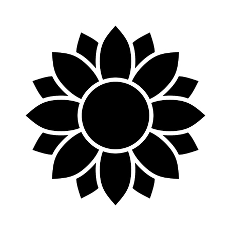 Helianthus or sunflower blossom flat vector icon for flower apps and websites Stok Fotoğraf - 82166912