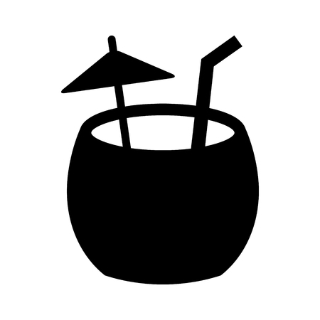 Coconut water cocktail drink with straw and umbrella flat vector icon for food apps and websites