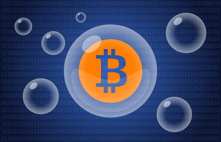 Bitcoin digital cryptocurrency bubble illustration for news apps and websites 版權商用圖片