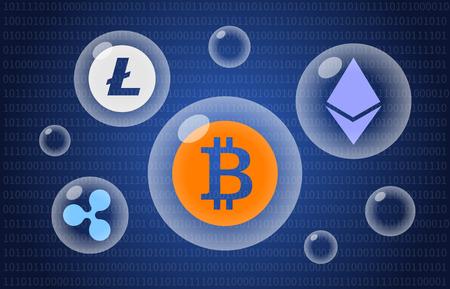 뉴스 앱 및 웹 사이트를위한 디지털 cryptocurrency bubble  bubbles 일러스트