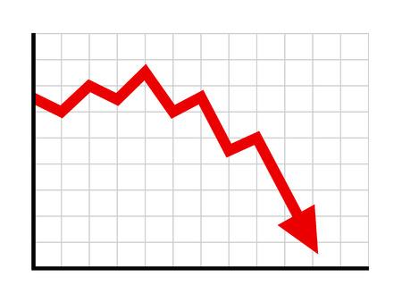 Stock of financiële markt crash met rode pijl platte vector illustraties voor websites