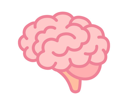 Brain or mind side view line art color vector icon for medical apps and websites Illustration