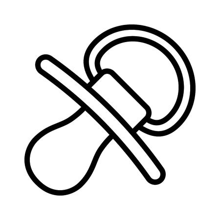 Baby-Schnuller, Dummy, Schnuller oder Teether Linie Kunst Vektor-Symbol für Apps und Websites