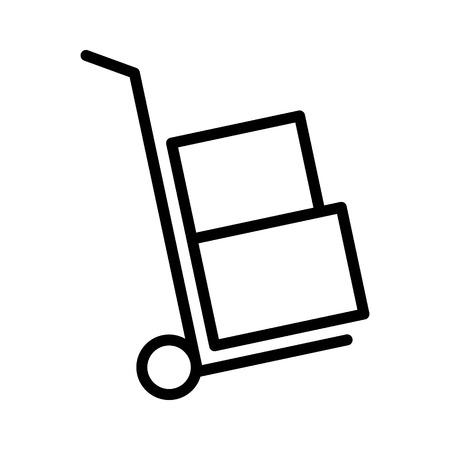 Mover la mano de camiones o Dolly con cajas de línea icono de vector de arte para aplicaciones y sitios web