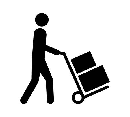 움직이는 손 트럭 또는 상자와 함께 돌리가 움직이는 발동기 앱 및 웹 사이트를위한 평면 벡터 아이콘 일러스트