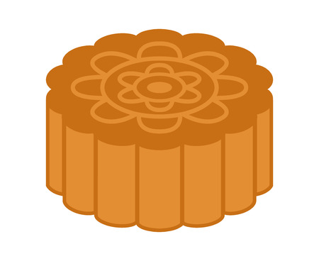 Mooncake or moon cake for the Mid-Autumn Festival flat vector color icon for food apps and websites Illustration