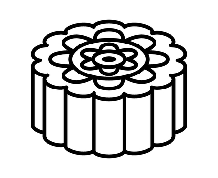 Mooncake or moon cake for the Mid-Autumn Festival line art vector icon for food apps and websites