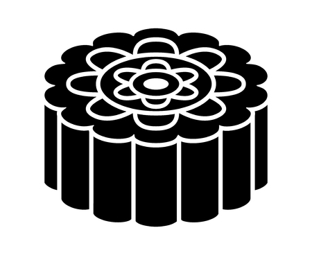 Mooncake or moon cake for the Mid-Autumn Festival flat vector icon for food apps and websites