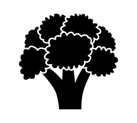 Head of broccoli vegetable flat vector icon for food apps and websites
