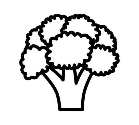 Head of broccoli vegetable line art vector icon for food apps and websites Illustration