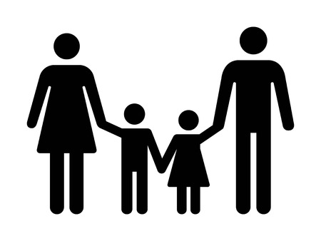 Traditional nuclear family with father, mother outside and two children flat vector icon for apps and websites