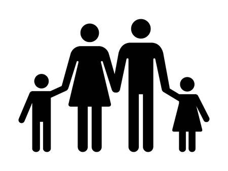 Traditionele nucleaire familie met vader, moeder binnen en twee kinderen platte vector pictogram voor apps en websites