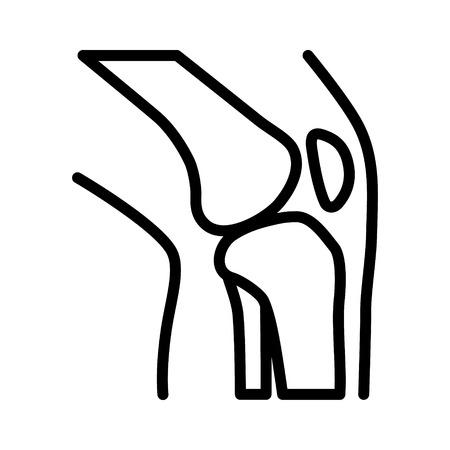 Kniegewricht  articulatie met been lijn kunst vector pictogram voor medische apps en websites