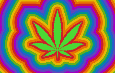 Colorful psychedelic rainbow high with marijuana  cannabis leaf flat illustration Stock Photo