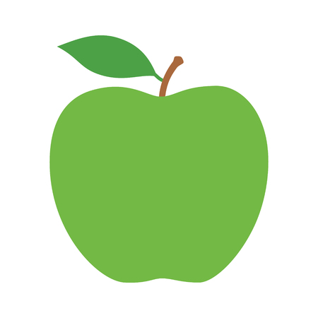 Green granny Smith apple fruit with leaf flat vector icon for food apps and websites Illustration