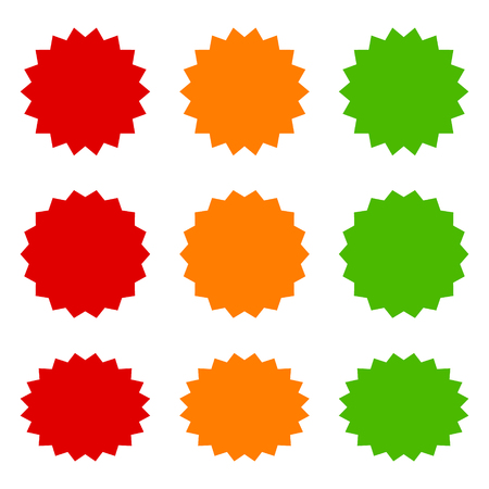 9 starbursts, bursts  labels in red, orange and green flat vector icons for apps and websites Illustration
