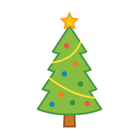 Christmas holiday tree with decorations & star flat vector color icon for apps and websites