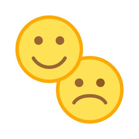 Customer satisfaction happy & sad / unhappy smiley face flat color icon for apps and websites
