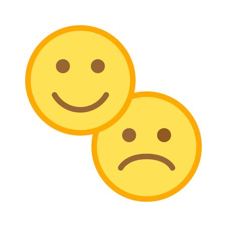 Klanttevredenheid blij en verdrietig / ongelukkig smileygezicht egaal gekleurde kleurenpictogram voor apps en websites