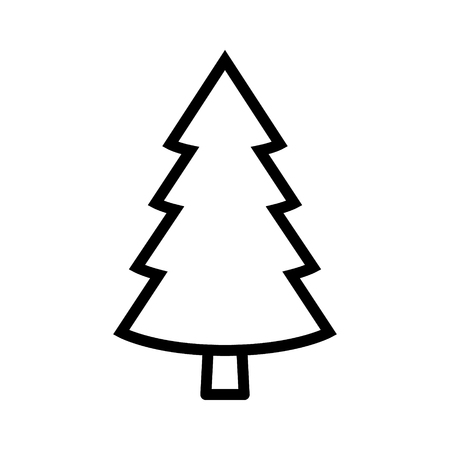 Evergreen conifer  pine tree flat stylized line art vector icon for apps and websites