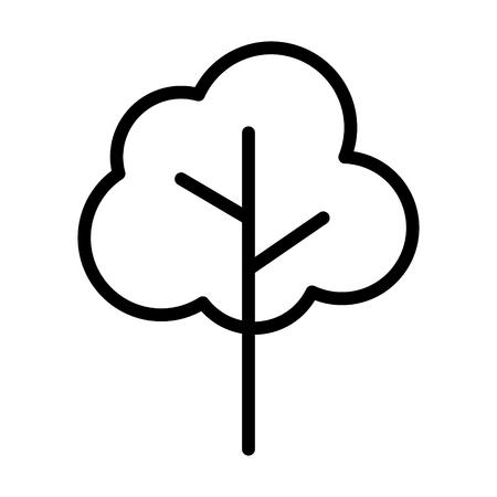 Simple cartoon tree or plant line art vector icon for nature apps and websites Vektoros illusztráció