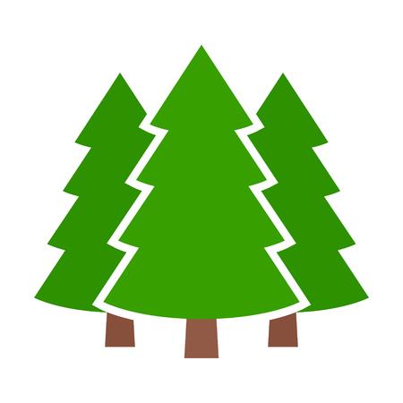 Drei Nadelbaumkiefern in einer flachen Vektorikone des Waldes oder des Parks für Natur apps und Website Standard-Bild - 84927218