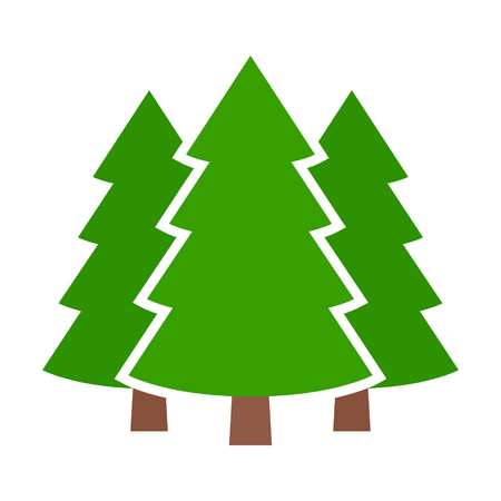 Three conifer pine trees in a forest or park flat vector color icon for nature apps and websites