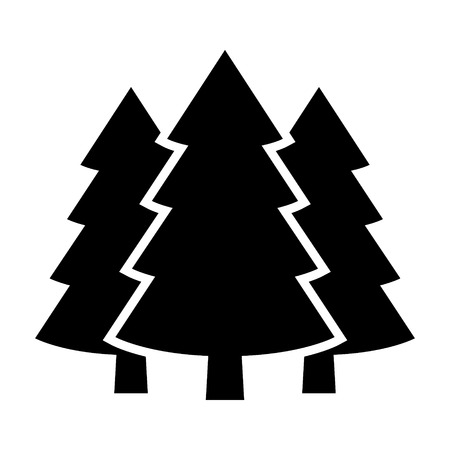 Three conifer pine trees in a forest or park simple vector icon for nature apps and websites. Vector Illustration