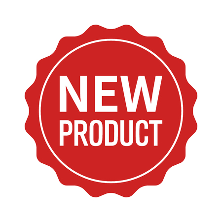New product label, seal, sticker or burst flat vector icon for websites and packaging