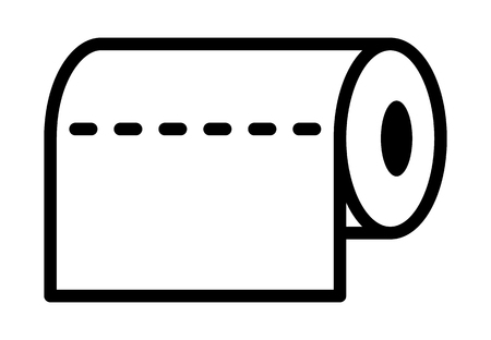 Roll of horizontal disposable paper towels line art vector icon for apps and websites