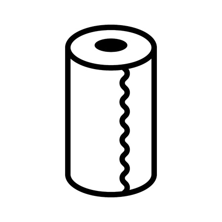 Roll of vertical disposable paper towels line art vector icon for apps and websites